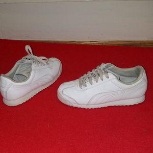 Puma boys white athletic shoes. Size 1